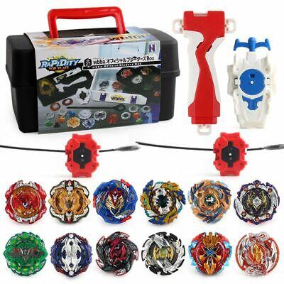 12x Beyblade Set Gyro B122 B125 B127 With Grip Launcher Storage Kids Gift Toys
