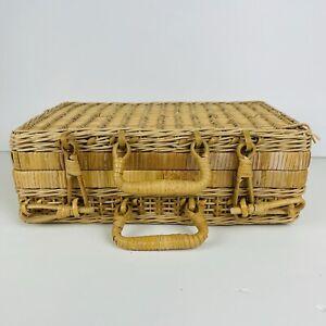 Rattan woven mini suitcase latching handles vintage 1970s