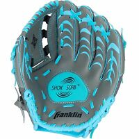 Kids Left Hand T-ball Baseball Glove Blue Grey 10.5in Shock Absorber Ages 4-6