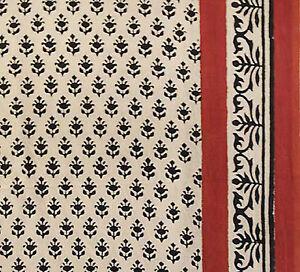 Burgundy-amp-Black-Hand-Block-Print-Cotton-Fabric-2-Yards-Cream-Fabric-Floral