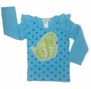 Everbloom-Girls-T-Shirt-Blue-Size-6-Long-Sleeve-Cotton-Ruffle-Butterfly-Tee-NEW