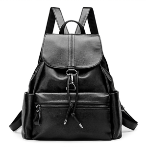 6c94b8f13f2 Image is loading Women-Fashion-Genuine-Leather-Black-Backpack-Cowhide -Casual-