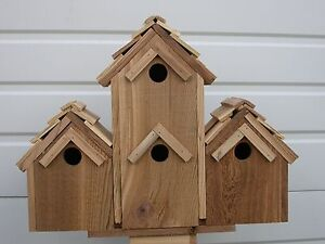 CEDAR-BIRDHOUSE-With-4-SEPERATE-COMPARTMENTS-SHAKEROOF