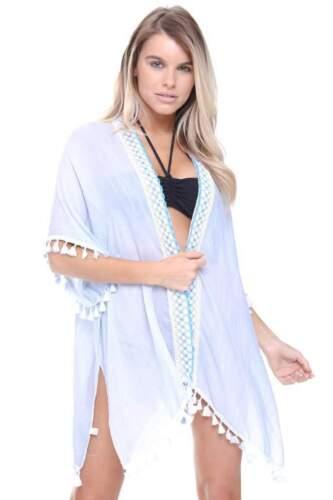 Da Donna Urban Mist Ricamato Aperto Sul Davanti Azteca ricamato dettaglio Nappa Kimono