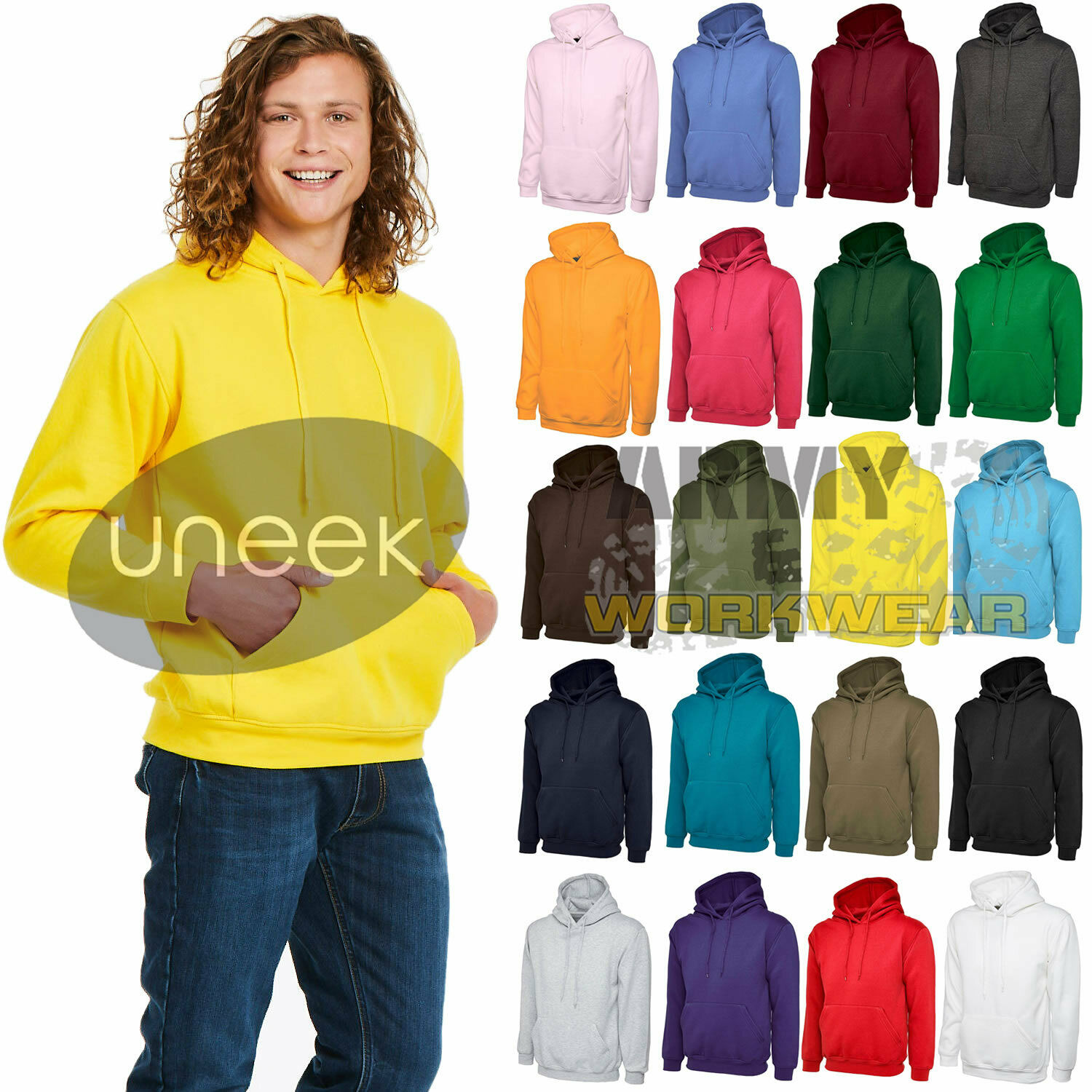 Uneek Hooded Sweatshirt Pullover Casual Classic Thick Sports Jumper Mens Hoody