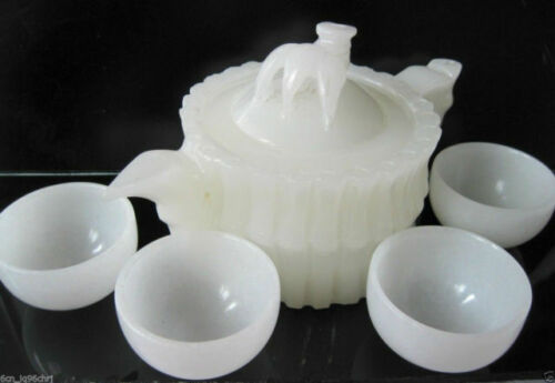 Chinese 100/% Natural White Jade Hand-Carved Bamboo Teapot /& 4 Cups NR