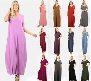 99394de48a8 Details about S-XL Women's Long Summer Maxi T-Shirt Pocket Dress V-Neck  Casual Oversized Basic