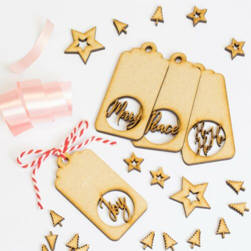 Wooden Christmas Gift Tags Novelty Craft Present Hanging Merry Xmas Eve Box Tag