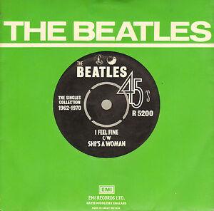 BEATLES-I-Feel-Fine-She-039-s-A-Woman-1976-UK-VINYL-SINGLE-7-034-REISSUE