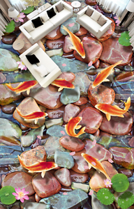 3D Piedra Marrón Piso Parojo Murales Papel peces 855 parojo impresión AJ Wallpaper Reino Unido Limón