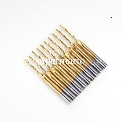 10x 1/8'' Titanium Coated Carbide CNC Two Double Flute Ball Nose Bit 1.5mm x12mm