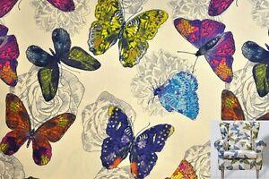 Polsterstoff-Dekostoff-0-5lfm-148cm-breit-Muster-Butterfly-Schmetterling-Bunt