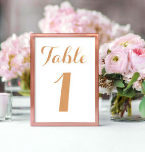 Gold or Copper Foil Wedding Decor Table Numbers Table Cards Signage Silver