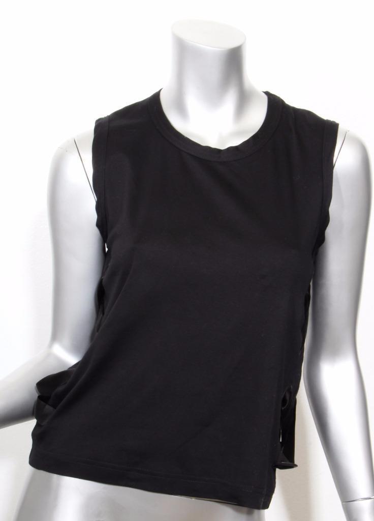 schwarz KEI NINOMIYA damen schwarz Short Sleeve Side Lace Up T-Shirt Blouse Top XS