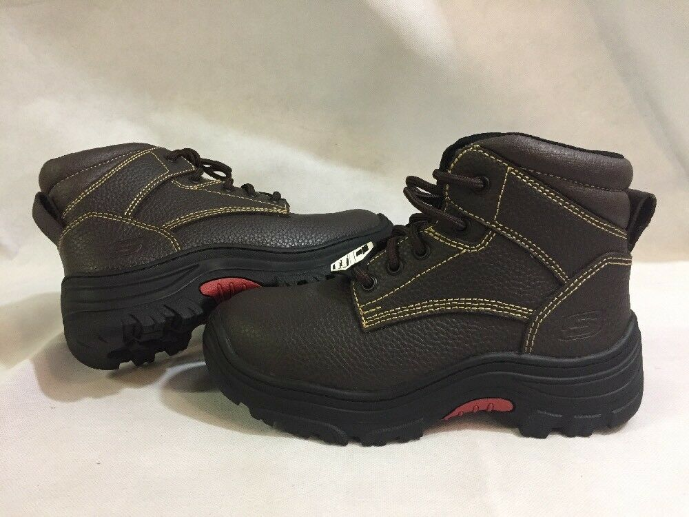 SKECHERS WORKS Memory Foam shoes Men's Size 6, Leather Brown Eur 36....S7
