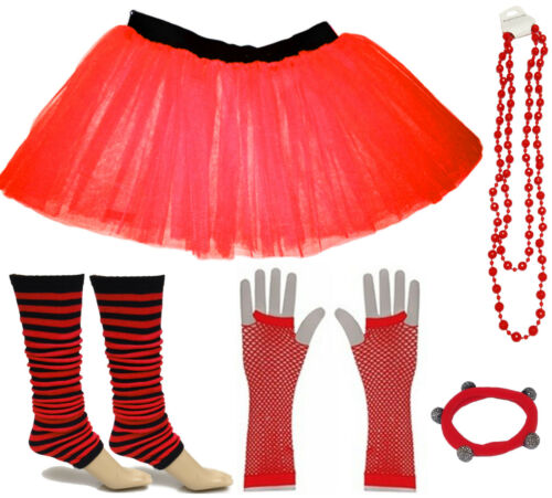 CHILD FANCY DRESS PARTY KIDS COSTUMES SET TUTU SKIRT STRIPED LEG WARMER GLOVES