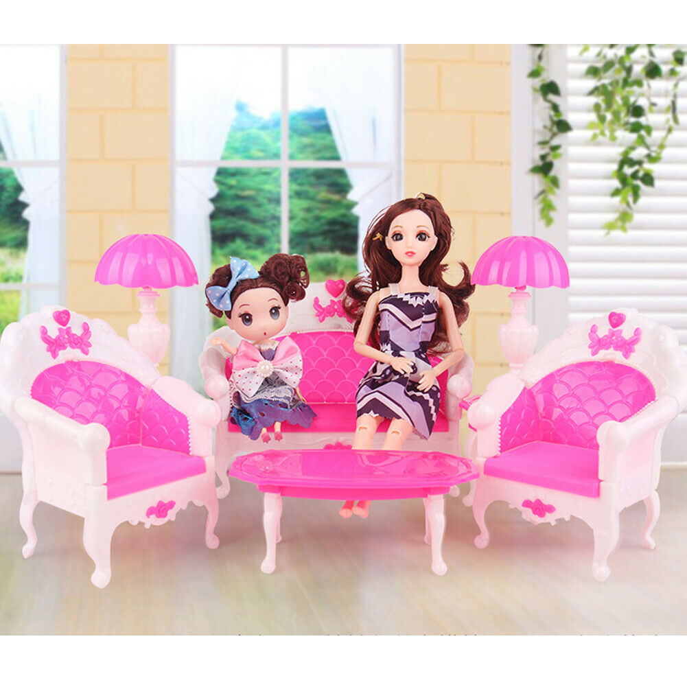 6pcs Barbie Doll House Furniture Living Room Pink Sofa Couch Chair Armchair