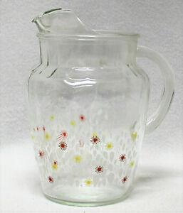 Vtg-Glass-Pitcher-With-Ice-Catcher-Lip-Retro-Red-amp-Yellow-Sunburst-Flowers-9-034