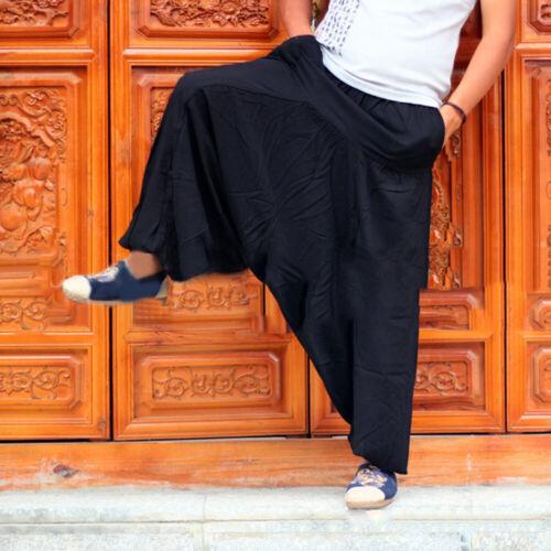 Uomo Pantaloni Harem Hip Hop Gamba Larga Gitano Hippie Yoga Indiano Danza