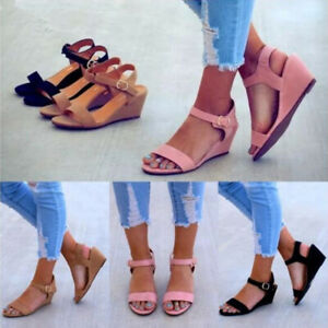 Women-Comfy-Ankle-Strap-Wedge-Buckle-Sandal-Summer-Open-Toe-Slingback-Shoes-Size