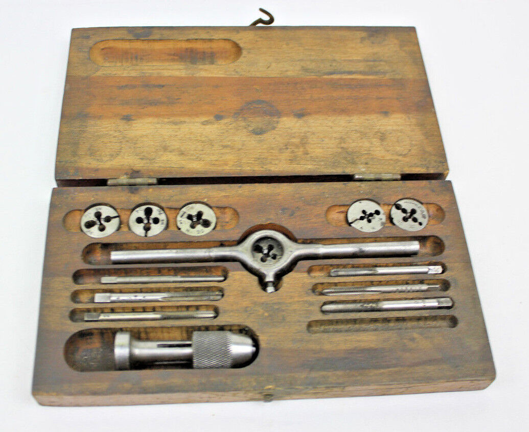 Lakeside TAP & DIE Screw plate SET NC & NS ANTIQUE VINTAGE Wooden Case USA