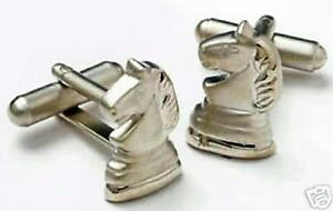 Knight Chess Piece Cuff Links Silver Finish  NEW  Cufflinks 7306