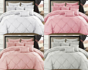 LUXURY-PINTUCK-BEDDING-SILVER-PINK-DUVET-QUILT-COVER-SET-PERCALE-COTTON-DOUBLE