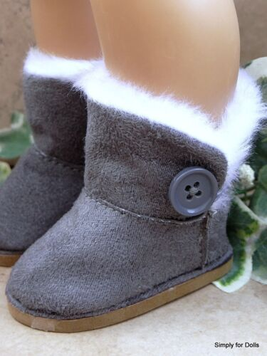"""**SALE** GRAY Fur-Trim EWE Button DOLL BOOTS SHOES fits 18/"""" AMERICAN GIRL Doll"""
