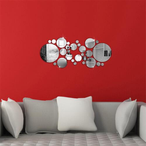 30PCS Silver Circles Mirror Removable Decal Vinyl Art Wall Sticker Home Decor