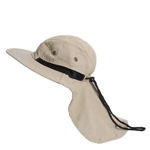 Boonie-Fishing-Boating-Outdoor-Snap-Hat-Brim-Ear-Neck-Cover-Sun-Flap-Cap-Khaki