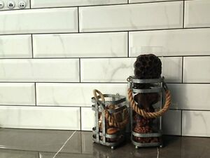 Image Is Loading White Carrara Subway Backsplash Tile Ceramic Beveled 4