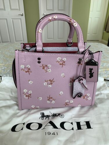 29216650 In Coach Nwt Rogue Handtas Purple Floral 25 1941 Tote Ice Bow PXliwOkuZT