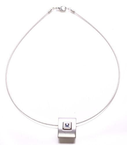Minimal /& Sleek Blue Diamante Encrusted Chrome Pendant /& Metal Necklace Zx298