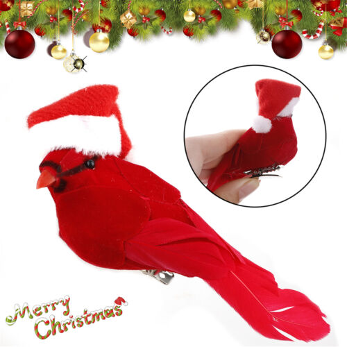 6pcs Artificial Red Clip-on Cardinals Feathered Birds Christmas Ornaments NEW