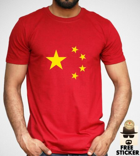 China Flag T-shirt Chinese Country Logo Short Sleeve Adult Mens Red Top S XXL