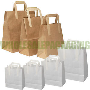 PAPER-CARRIER-BAGS-WHITE-BROWN-KRAFT-SOS-TAKEAWAY-FOOD-LUNCH-PARTY-WITH-HANDLES