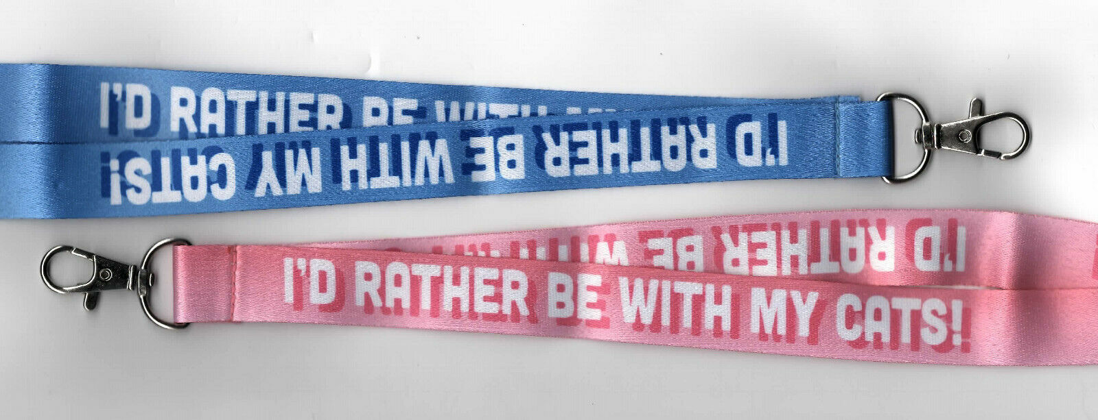 1 x I'D RATHER BE WITH MY CATS Breakaway Safety Lanyard Pink or Blue FREE UK P&P