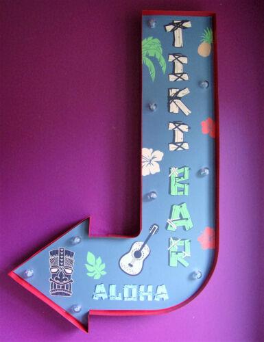 Tiki Barre Flèche Clair Écriteau à LED Aloha Cocktail Hawaii Vintage
