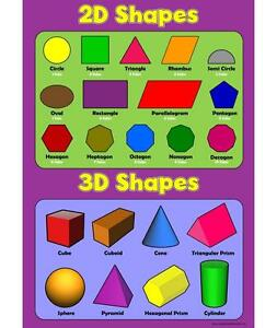 2D Shapes 3D Shapes - Childrens Basic Learn Wall Chart Educational Childs Poster 756970575436