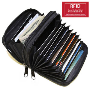 RFID-Signal-Blocking-Leather-Credit-Card-ID-Women-039-s-Accordion-Zip-Wallet-Holder