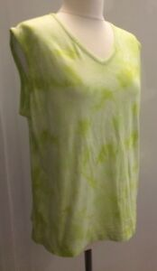 Style-amp-Co-Woman-Lime-Green-Tie-Die-V-Neck-Sleeveless-Vest-Top-Cotton-Sz-1X-New