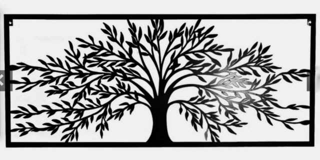 Black Tree of Life 98cm Large Metal Wall Art Hanging Plaque Outdoor Rectangle