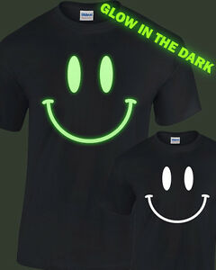 Smily Face Glow In The Dark T Shirt Mens Womens Glowing Rave Club