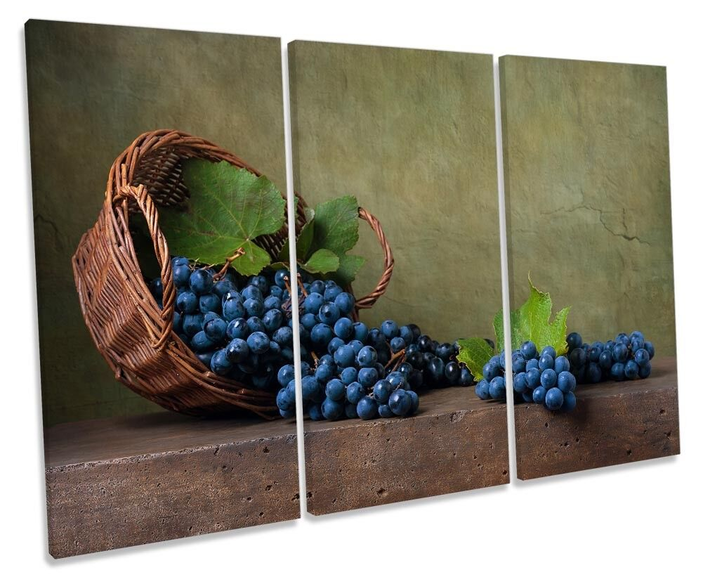 Still Life Grapes Picture TREBLE CANVAS WALL ART Print