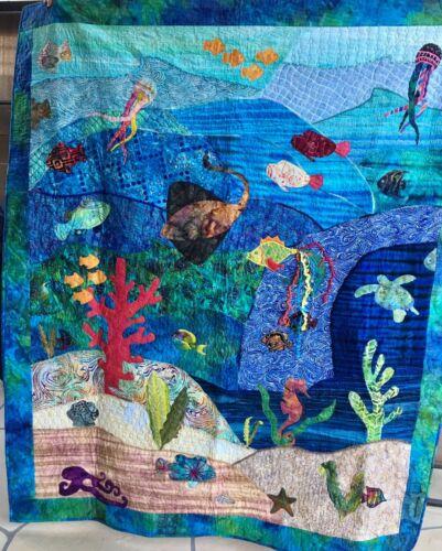 Tropical SEAHORSE Fabric Applique Sea Grass Iron on Quilt Sew Hawaiian Batik