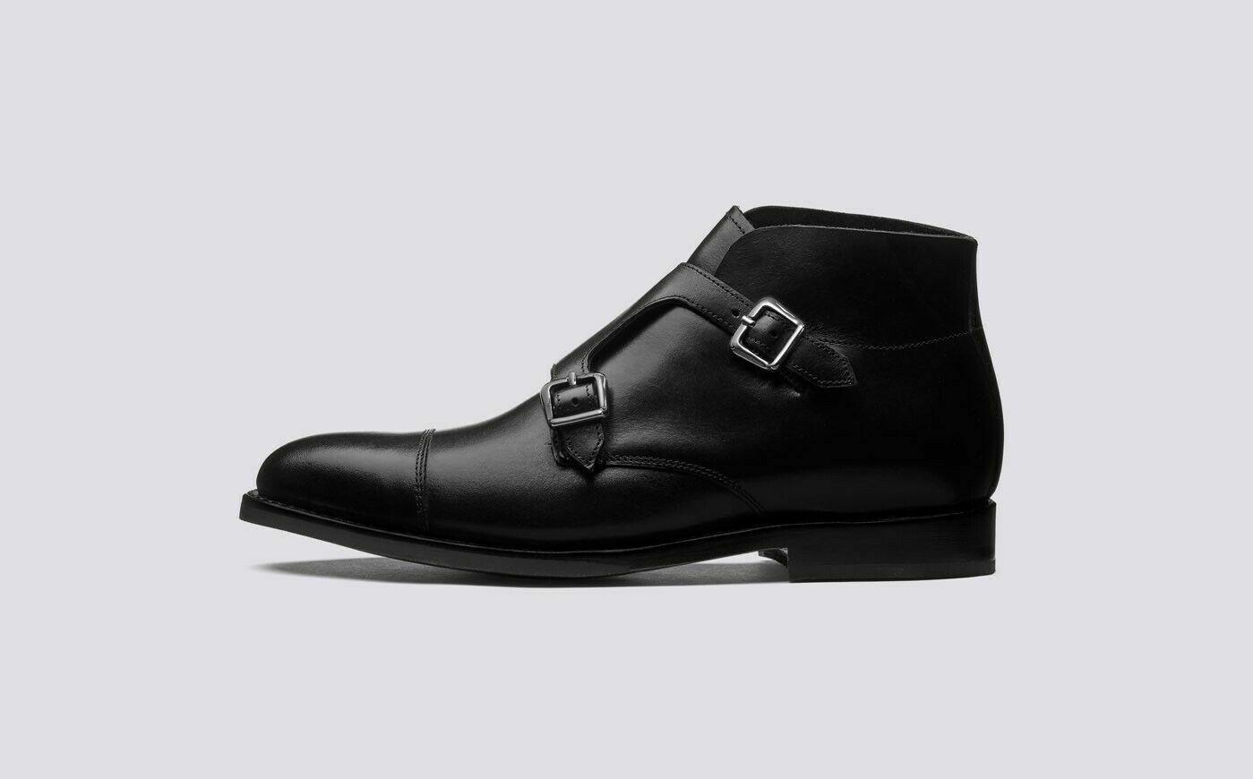 Women handmade genuine leather double monk oxford toecap boots