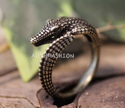 Adjustable Retro Crocodile Ring Alligator Antique Silver tone Animal Ring