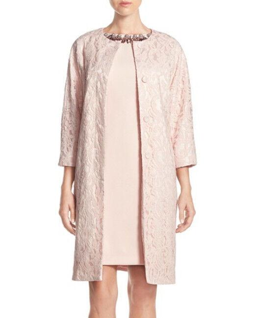 ADRIANNA PAPELL EMBELLISHED WOVEN SHEATH SHEATH SHEATH W LACE TOPPER DRESS sz 4 c7be0c