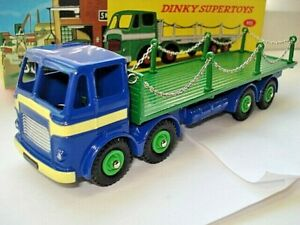 Atlas-Dinky-Supertoys-No-935-Blue-Green-Leyland-Flat-Chains-Truck-Mint-boxed