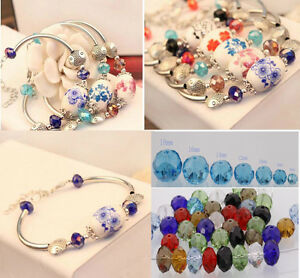 New-50-80pcs-Rondelle-Glass-Crystal-Spacer-Beads-6-8mm-Jewelry-Making-findings